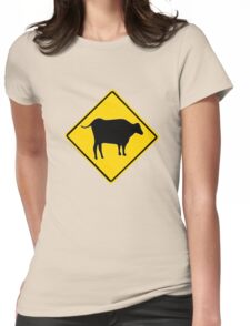 BULL CROSSING ROAD  SIGN  Womens Fitted T-Shirt