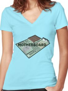 MOTHERBOARD COMPUTER Women's Fitted V-Neck T-Shirt