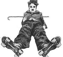 Chaplin on Skates Print by littlegirlbluue