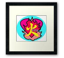 japanese Fire Kanji Heart Framed Print