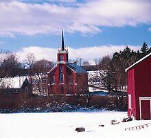 Red Barn and Church - Berks County Pennsylvania, USA 2004 by Jeremiah Keenehan