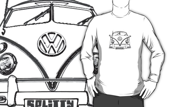 VW kombi Split T-shirt by KellieBee