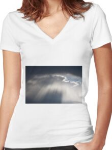 cloudy sky on the hilly Women's Fitted V-Neck T-Shirt