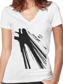Traffic Black Women's Fitted V-Neck T-Shirt