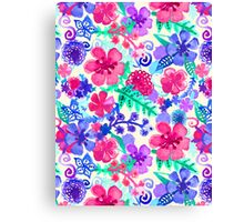 Fresh Watercolor Floral Pattern Canvas Print