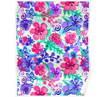 Fresh Watercolor Floral Pattern Poster