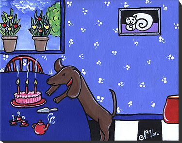 Dachshund Birthday Party by Nathalie Van