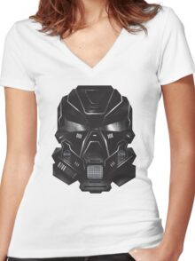 Black Metal Future Fighter Sci-fi Concept Art Women's Fitted V-Neck T-Shirt