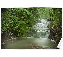 Fog Over a Waterfall Poster