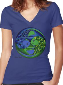 pisces yin yang Women's Fitted V-Neck T-Shirt