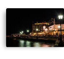 Dinner at Chania Old Port Canvas Print