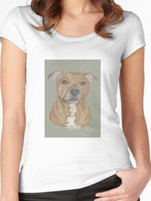 Terrier portrait in pastel Women's Fitted Scoop T-Shirt