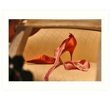 Red Slipper with Pink Ribbon Art Print