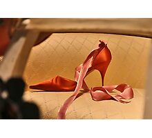 Red Slipper with Pink Ribbon Photographic Print