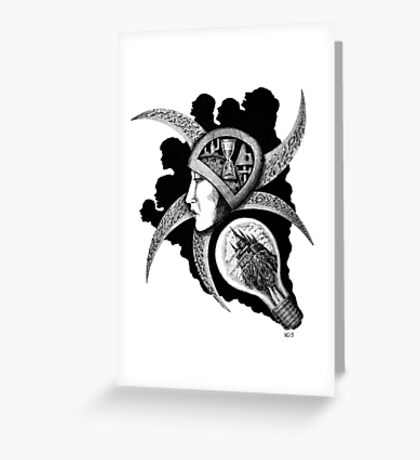 Dreaming surreal pen ink black and white drawing Greeting Card