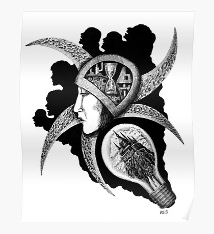 Dreaming surreal pen ink black and white drawing Poster
