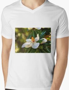 Southern Magnolia Blossom Mens V-Neck T-Shirt