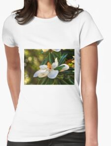 Southern Magnolia Blossom Womens Fitted T-Shirt