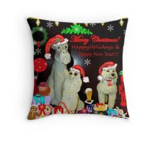 Three Of The Twelve Dogs Of Christmas Throw Pillow