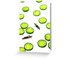 Boating Among Cucumber Slices Greeting Card