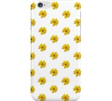 Yellow Flower Pattern - White iPhone Case/Skin