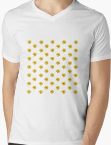 Yellow Flower Pattern - White Mens V-Neck T-Shirt