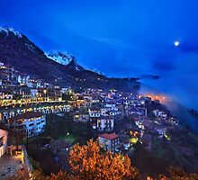 Night falling in Arachova & Parnassos mountain by Hercules Milas