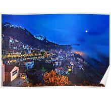 Night falling in Arachova & Parnassos mountain Poster