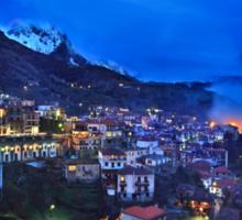 Night falling in Arachova & Parnassos mountain Sticker