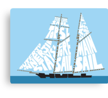 Tops'l Schooner Sail/Spar Plan Canvas Print