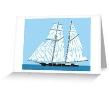 Tops'l Schooner Sail/Spar Plan Greeting Card