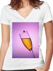 Fishing On A Cup Of Champange Women's Fitted V-Neck T-Shirt