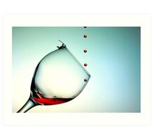 Fishing On A Glass Cup With Red Wine Droplets Art Print