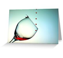 Fishing On A Glass Cup With Red Wine Droplets Greeting Card
