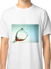 Fishing On A Glass Cup With Red Wine Droplets Classic T-Shirt
