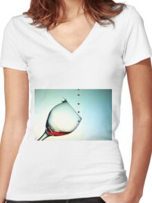 Fishing On A Glass Cup With Red Wine Droplets Women's Fitted V-Neck T-Shirt