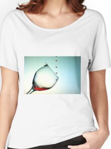 Fishing On A Glass Cup With Red Wine Droplets Women's Relaxed Fit T-Shirt