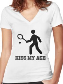 Tennis Kiss My Ace Women's Fitted V-Neck T-Shirt