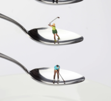 People Playing Golf On Spoons Sticker