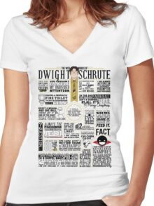 The Wise Words of Dwight Schrute (Light Tee) Women's Fitted V-Neck T-Shirt