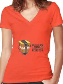 ClapTrap Troubles Women's Fitted V-Neck T-Shirt