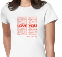 THANK YOU LOVE (PLASTIC BAG) by Tai's Tees Womens Fitted T-Shirt