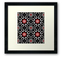 Decorative patterns and flowers in black, white and red Framed Print