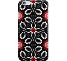 Decorative patterns and flowers in black, white and red iPhone Case/Skin