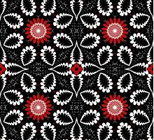 Decorative patterns and flowers in black, white and red by walstraasart