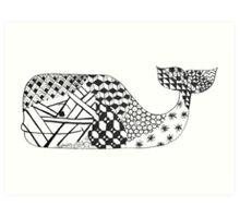 Zentangle Whale Art Print