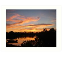 Sunset and Boat Art Print