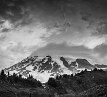 Mount Rainier in Black and White by Nicole Petegorsky