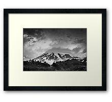 Mount Rainier in Black and White Framed Print