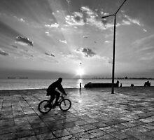 Sunset cyclist by George Stylianou
